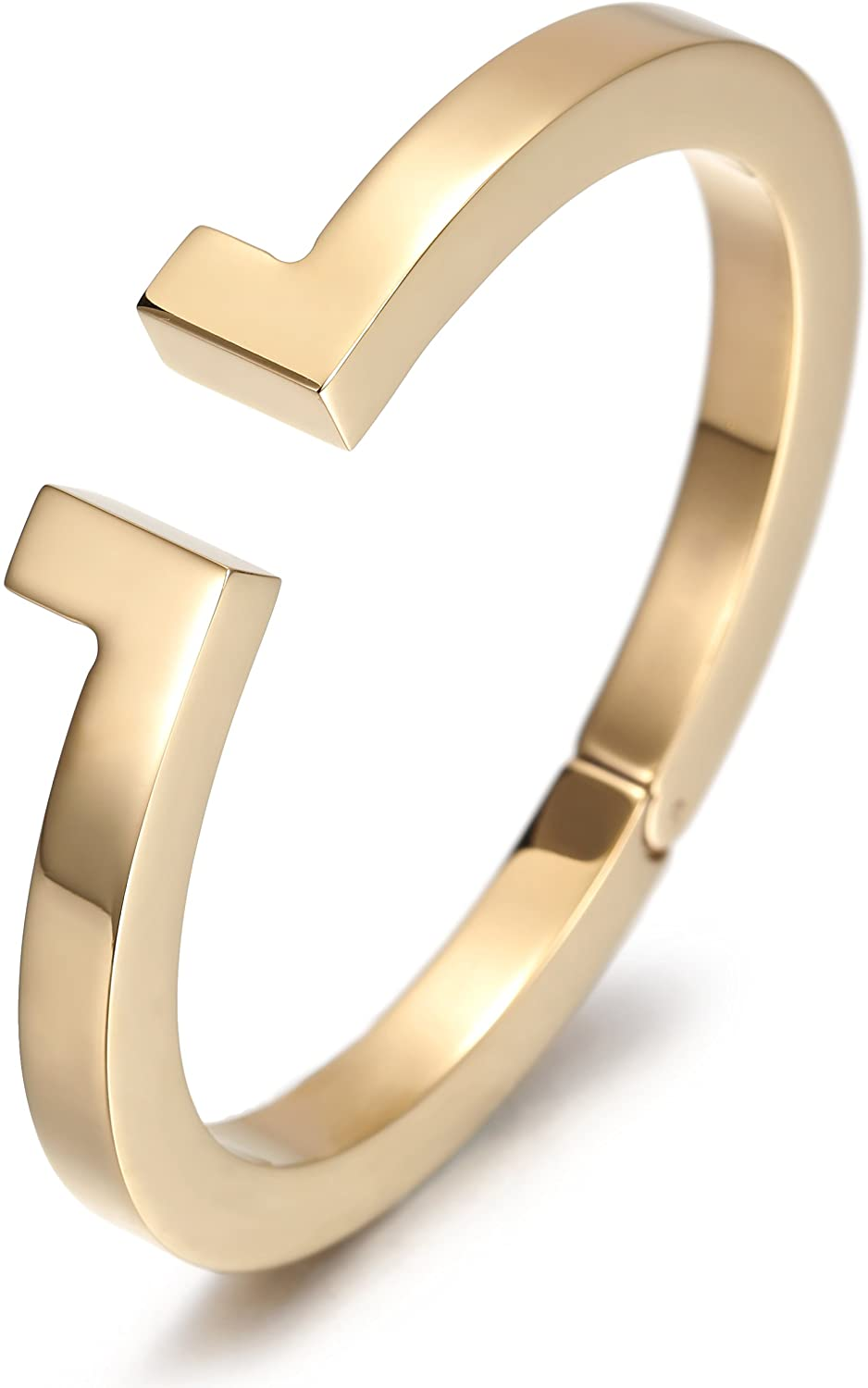 JINBAOYING Gold Plated Women Bracelet Cuff Bangle Bracelet with Stainless Steel and Spring-Clasp Cuff Bangle Bracelet Jewelry Gift for Women Girls