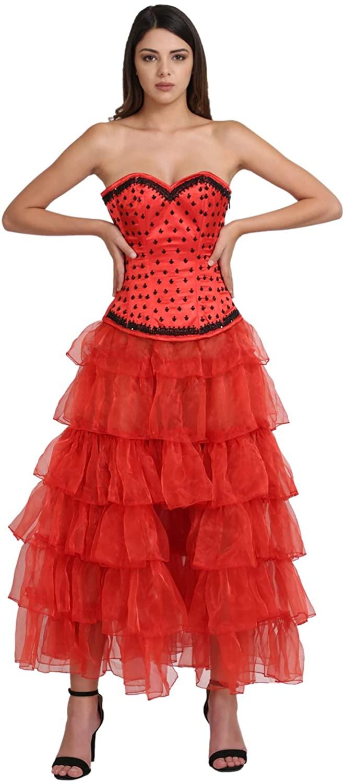 Red Satin Black Sequins Corset Plus Size Burlesque Costume Waist Shaper Overbust