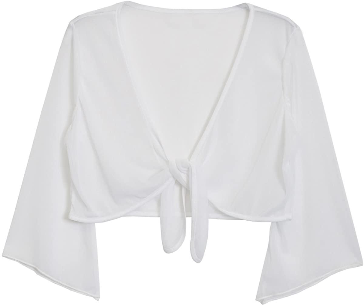 eVogues Plus Size Sexy White Sheer Front Tie Bolero Shrug