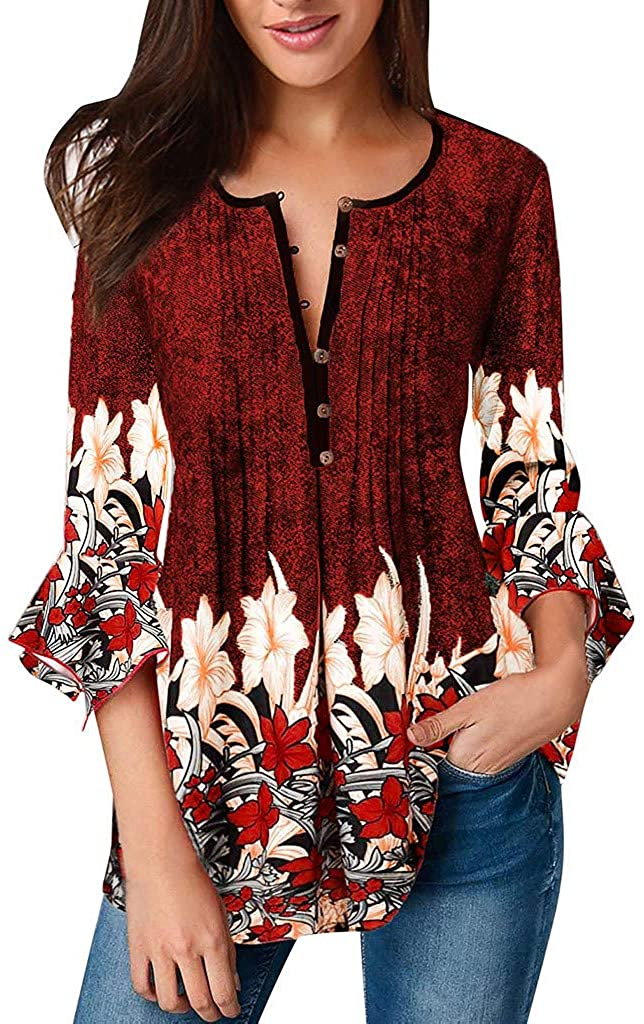 general3 Women Henley Shirt Casual Floral Print 3/4 Sleeve V Neck T-Shirt Button Up Pleated Tunic Blouse Tops