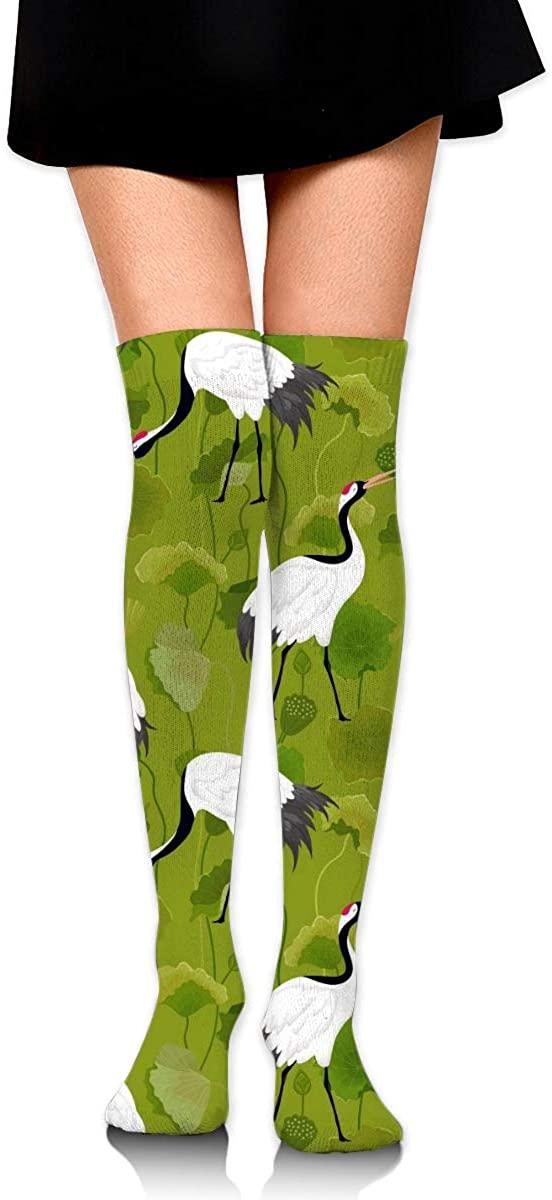 Dress Socks Japanese Crane Lotus Floral Long Knee Hose Hold-Up Stockings