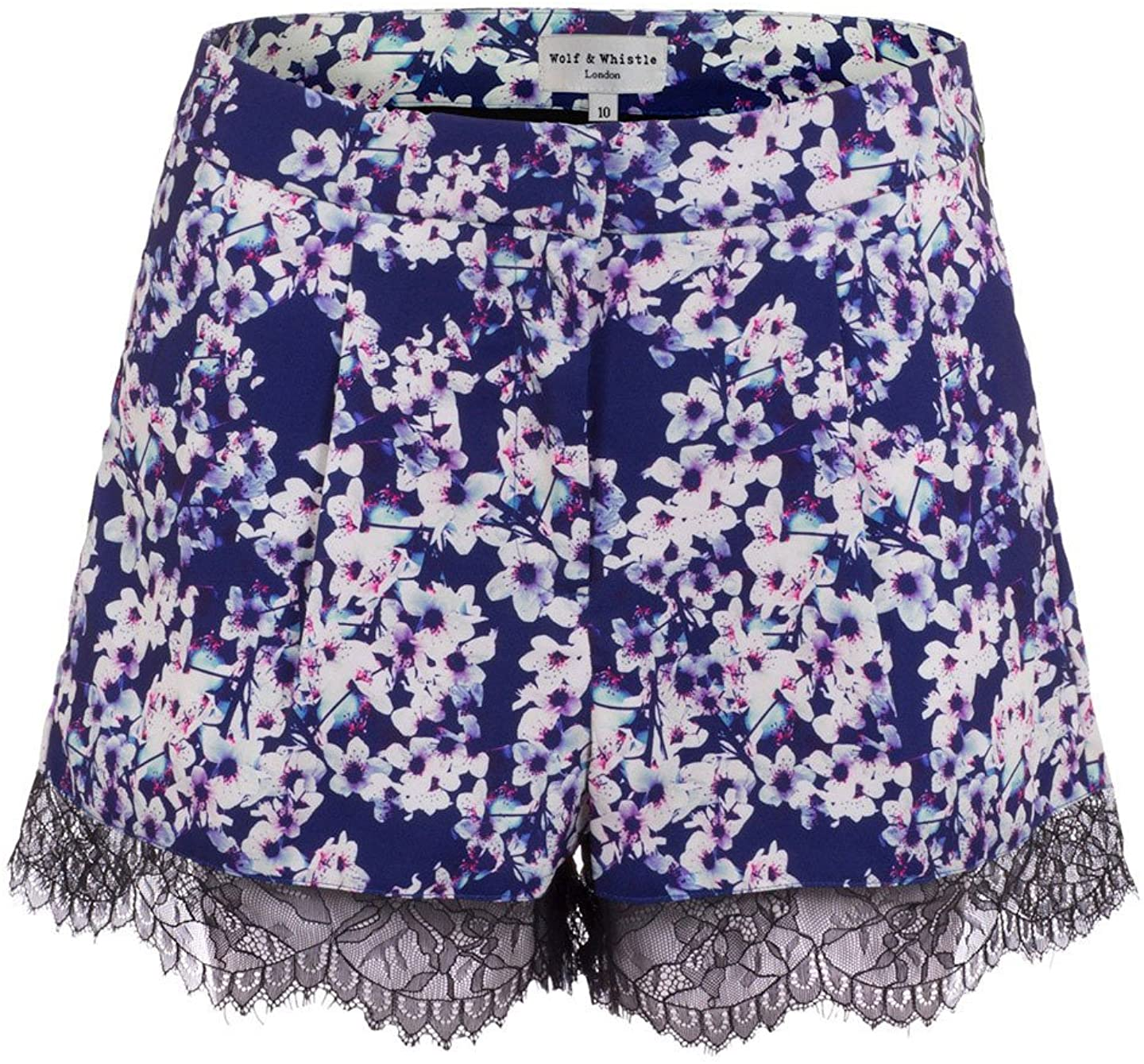 Wolf & Whistle Cherry Blossom Printed Lace Trim Shorts