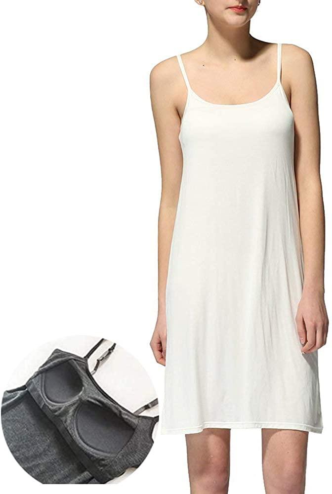 LWJKI Women's Spaghetti Strap Scoop Neck Seamless Long Cami Slip Under Short Mini Bodycon Dress Nightgowns