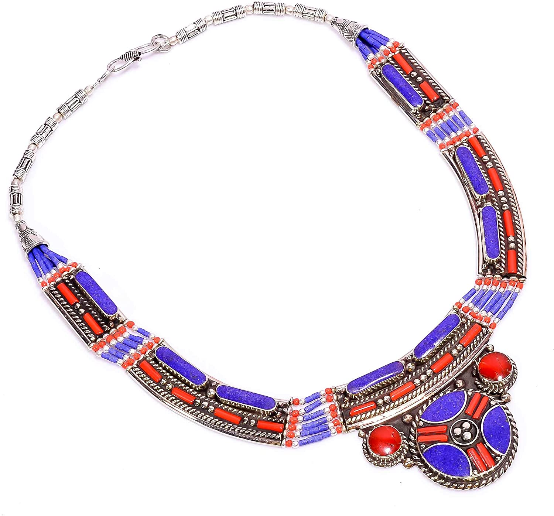 kanta incorporation Lapis Lazuli Coral Gemstone Tibetan Handmade Jewelry Necklace 17