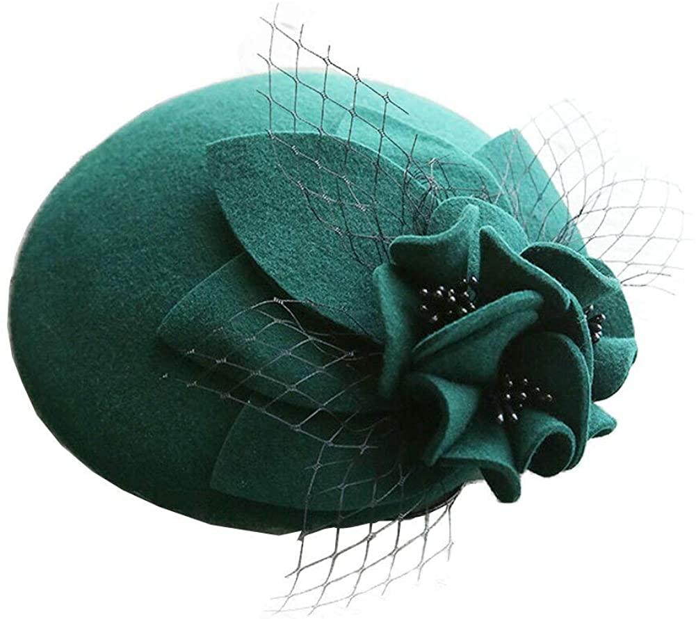 F FADVES Women Wool Fascinator Birdcage Veil Clip Hats Cocktail Pillbox Hat British Kentucky Derby Tea Party Hat