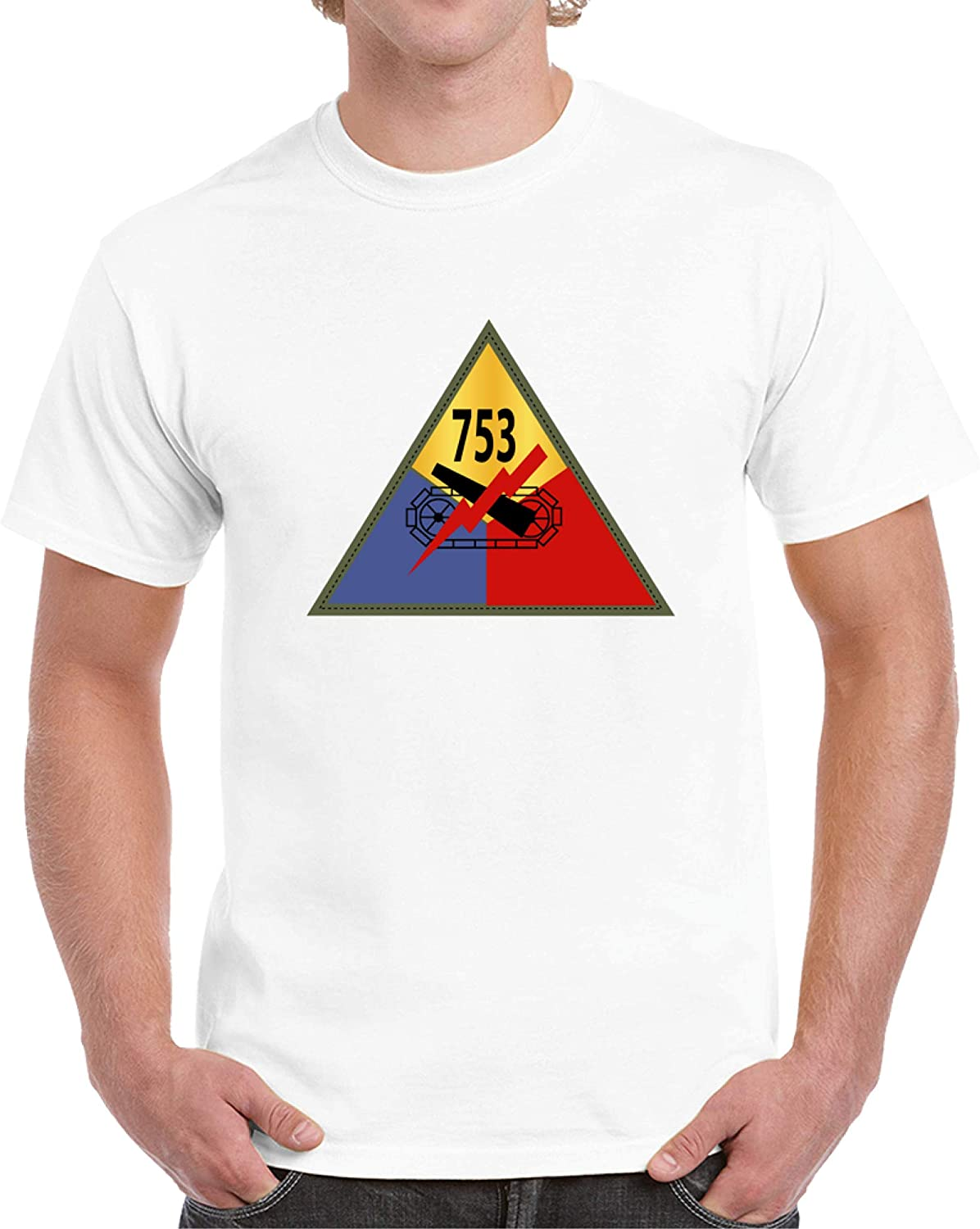 SMALL - Army - 753rd Tank Battalion Ssi T Shirt - White