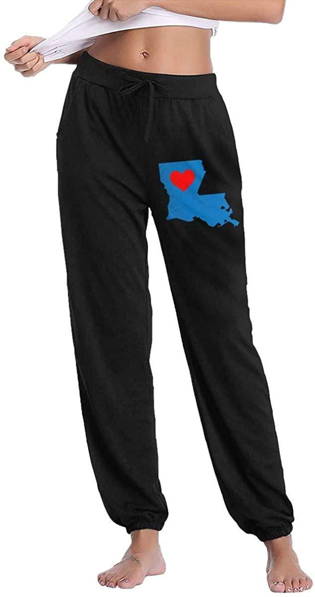 Heart in Louisiana Women's Drawstring Casual Jogger Sweatpants Pants