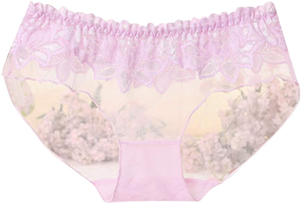 XuBa Women Sexy Traceless Briefs See-Through Lace Underpants Panties Pink free size