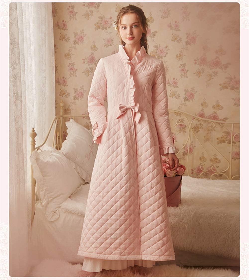 llwannr Winter Robe Winter Robe Sleepwear Ladies Cotton Long Robe Women Vintage Sleepwear Women Sleep Homewear Ware Nightgown Robes,Pink,M