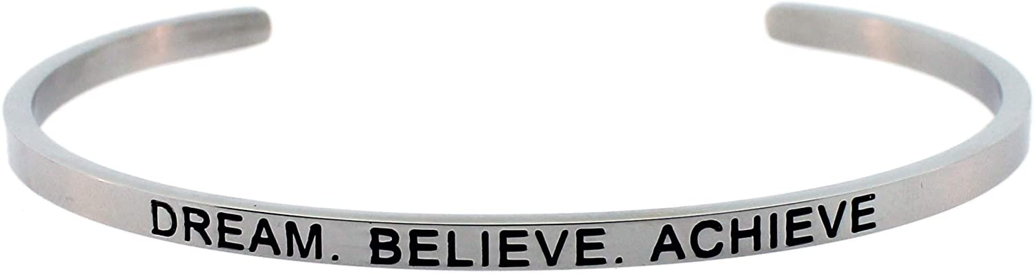 Mantra Bangle Cuff Bracelet Stainless Steel Engraved - DREAM BELIEVE ACHIEVE -Inspirational Gifts For Women
