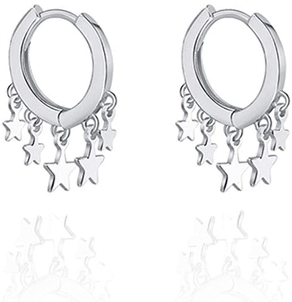 Star Huggie Hoop Earrings, Sterling Silver Small Tassel Geometric Earrings for Women