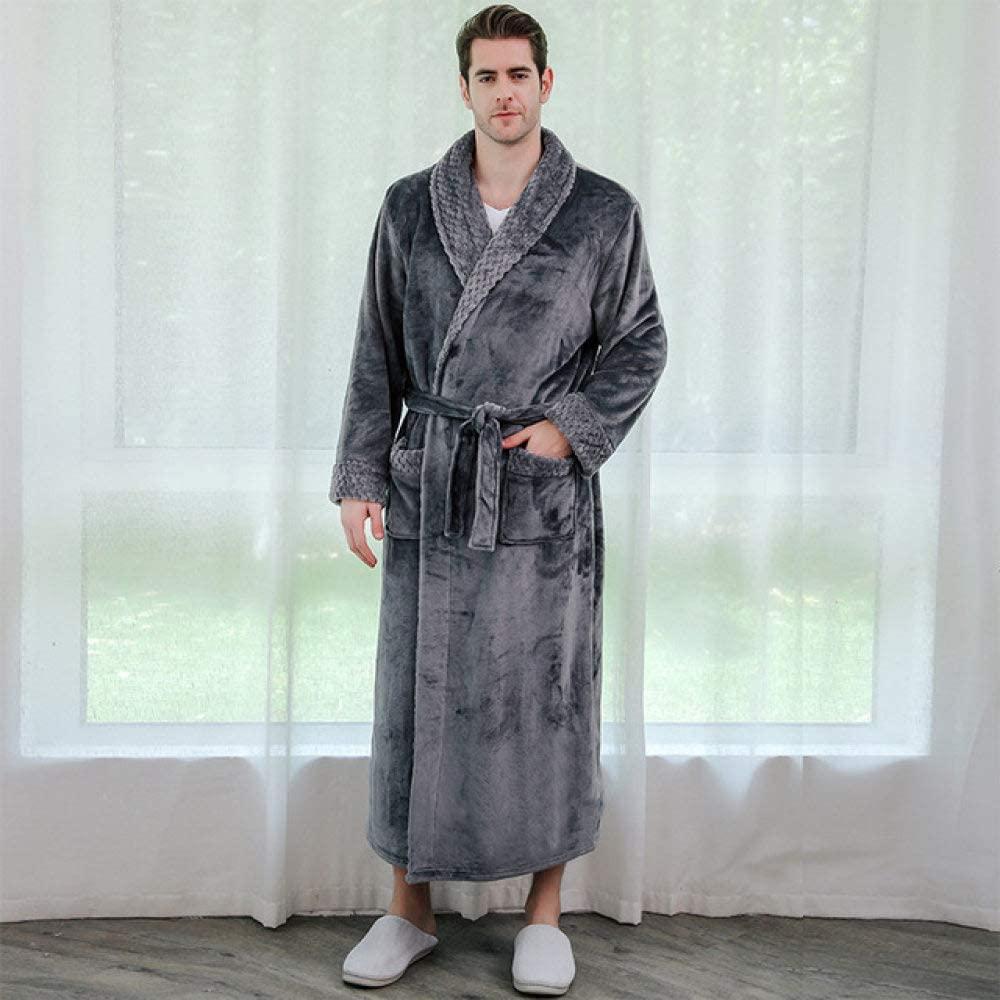 llwannr Bathrobe Robe Nightgown Sleep,Women Winter Super Soft Warm Plus Long Bath Robe Lovers Plush Kimono Bathrobe Men Dressing Gown Wedding Bridesmaid Robes,Men Grey,M