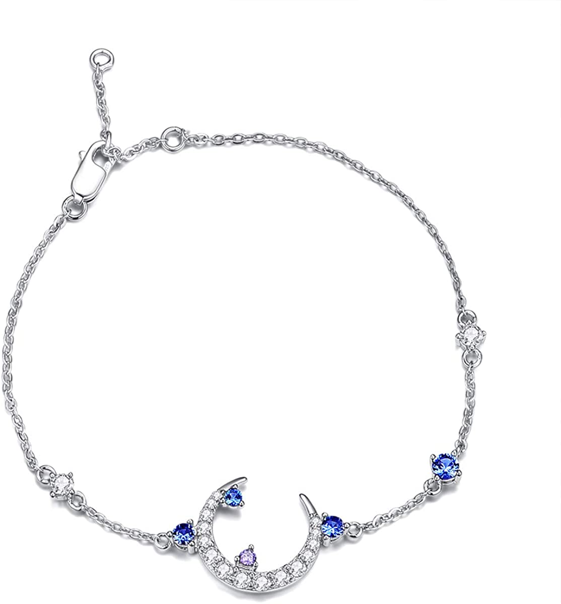 WDM Sterling Silver Bracelets for Women Crescent Moon Link Charms Blue Purple Sapphire White Gold Friendship Bangles Teen Girls Diamond Bracelets Adjustable Chain with Fashion Jewelry Box
