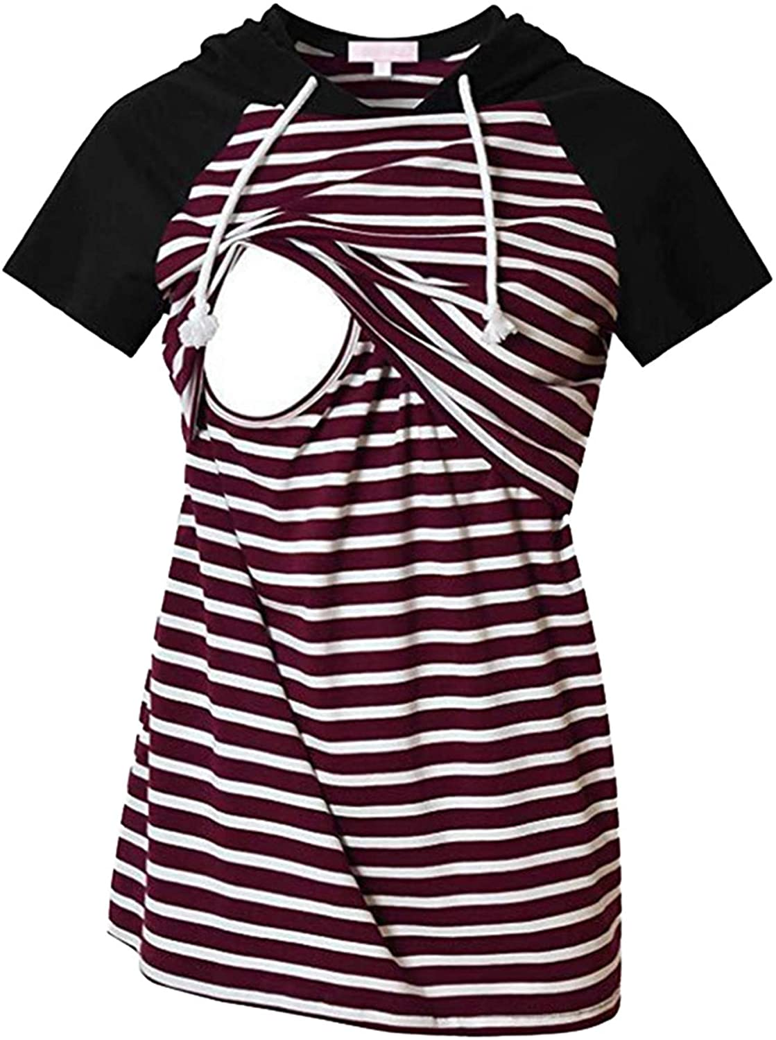 Soluo Women's Maternity Striped Short Sleeve Breastfeeding Nursing Hoodie Pullover Tops Clothes Shirt