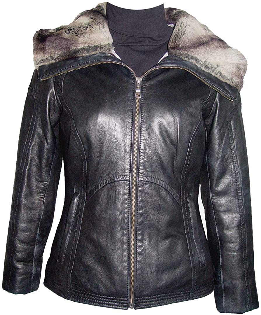 Paccilo 14P Size Black Leather Jacket with Hoodie Women