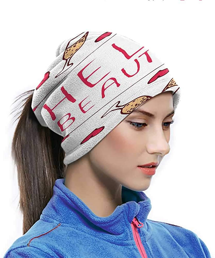 Head Wrap Saint Love Valentines Day Celebration Text Typography and Glasses of Champagne Elastic Face Cover for Ski, Snowboard Peach Red White 10 x 11.6 Inch
