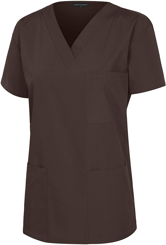 8029T Women's Uniform Scrubs Shirt Medical 3 Pockets V-Neck Scrub Top Brown M