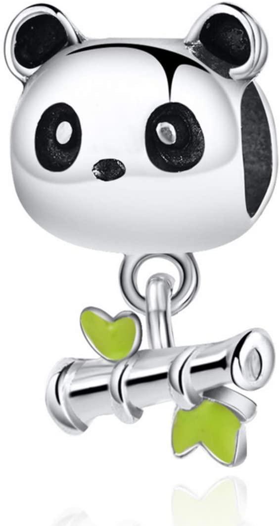 Panda with Dangling Bamboo Charm Bead