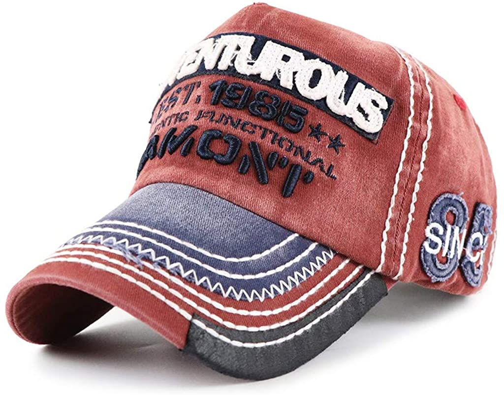 Elwow Men's PU Leather Front Distressed Letter Printed Denim Baseball Cap Sports Driver Trucker Hat with Colorful Embroidery