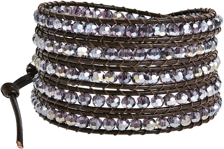 AeraVida Mystique Purple Fashion Crystal 5-Wrap Brown Leather Bracelet