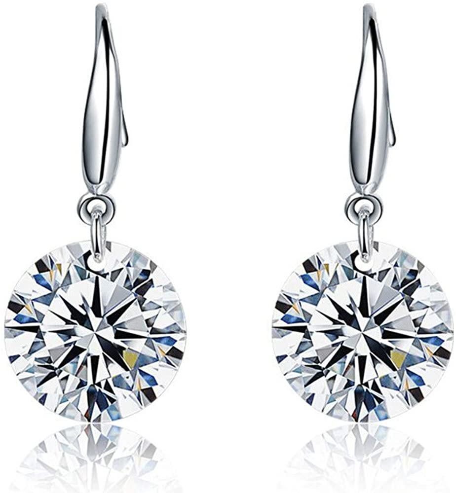 HX Plated Sterling Silver Cubic Zirconia Stud Earrings Earrings (Round and Princess)