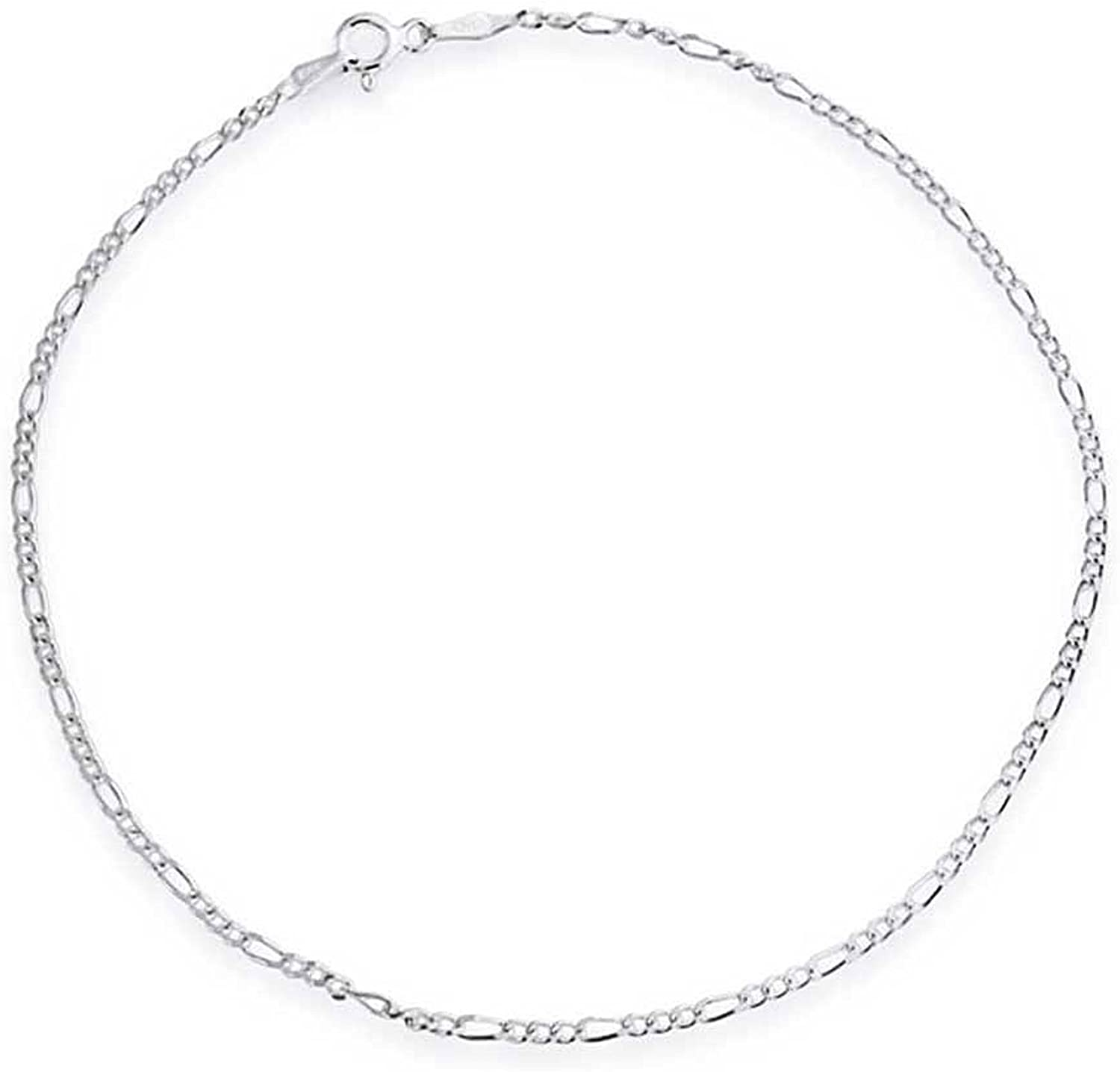 Simple Strong 50 Gauge 925 Sterling Silver Figaro Chain Anklet For Teen Ankle Bracelet For Women 9-10 Inch Made In Italy