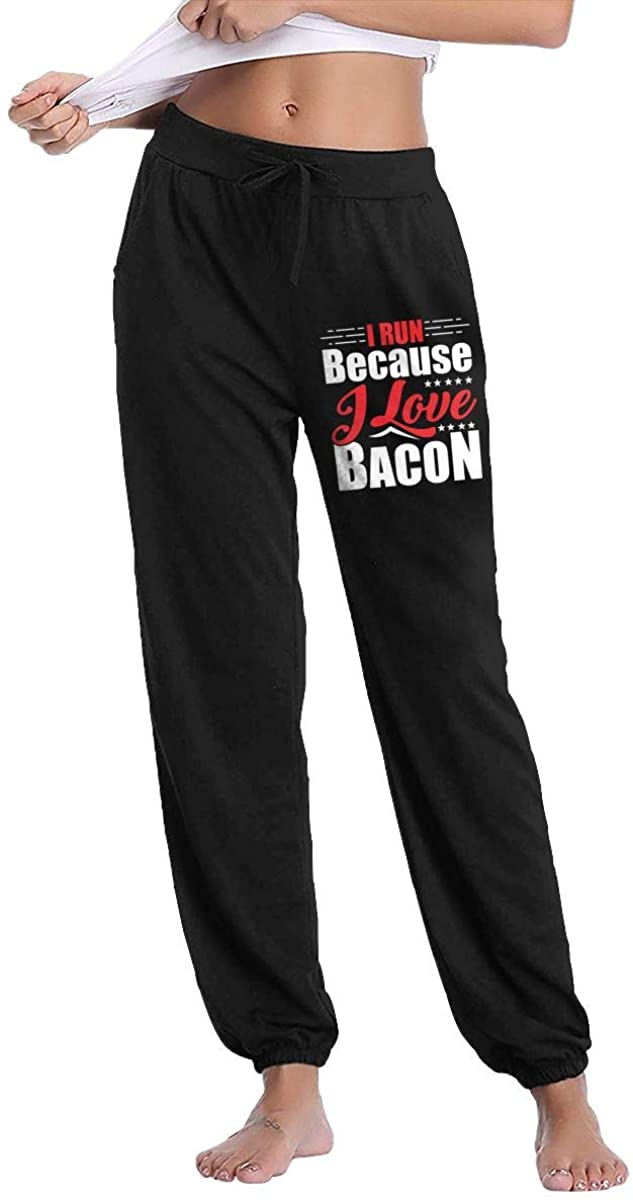 I Run Because I Love Bacon Women's Cotton Long Pants with Pockets Workout Sweatpants
