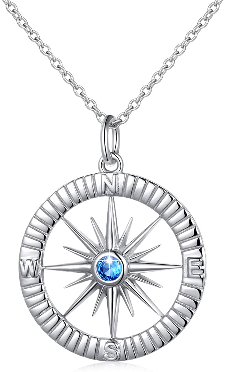 S925 Sterling Silver Simulated Birthstones Compass No Matter Where Bracelet and Pendant Necklace 18