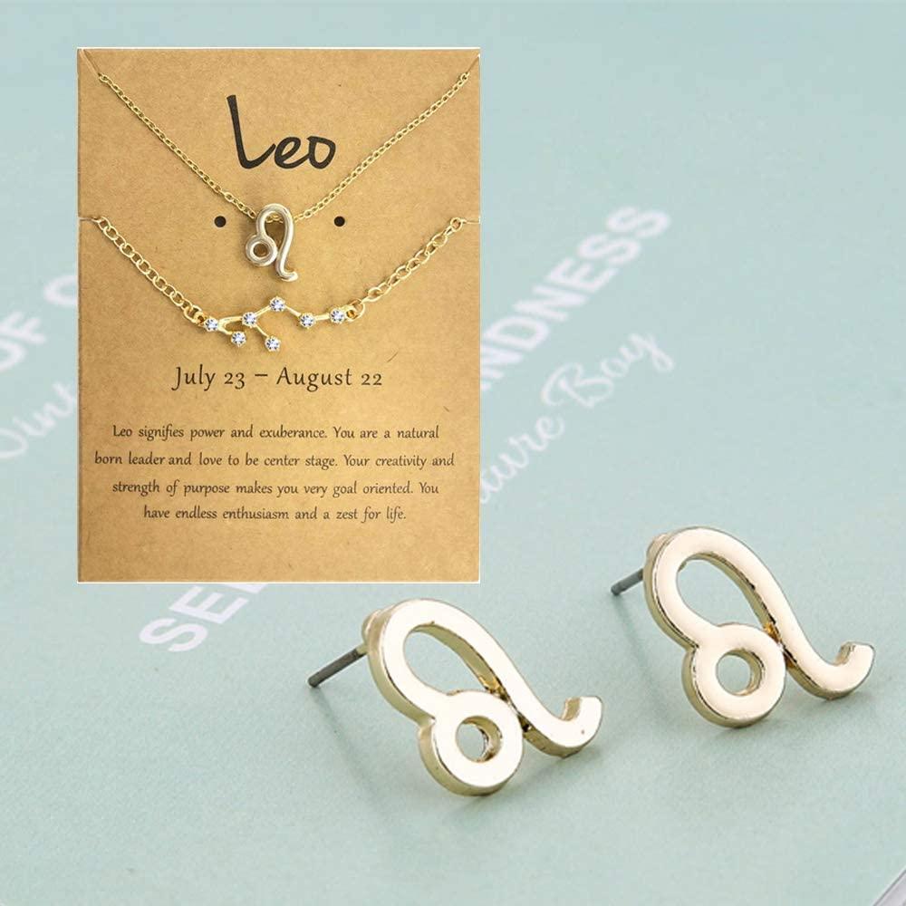JEVI Zodiac Necklace Bracelets Studs Earring 3Pcs Jewelry Sets for Women 12 Constellation CZ Astrology Horoscope Birthday Gifts