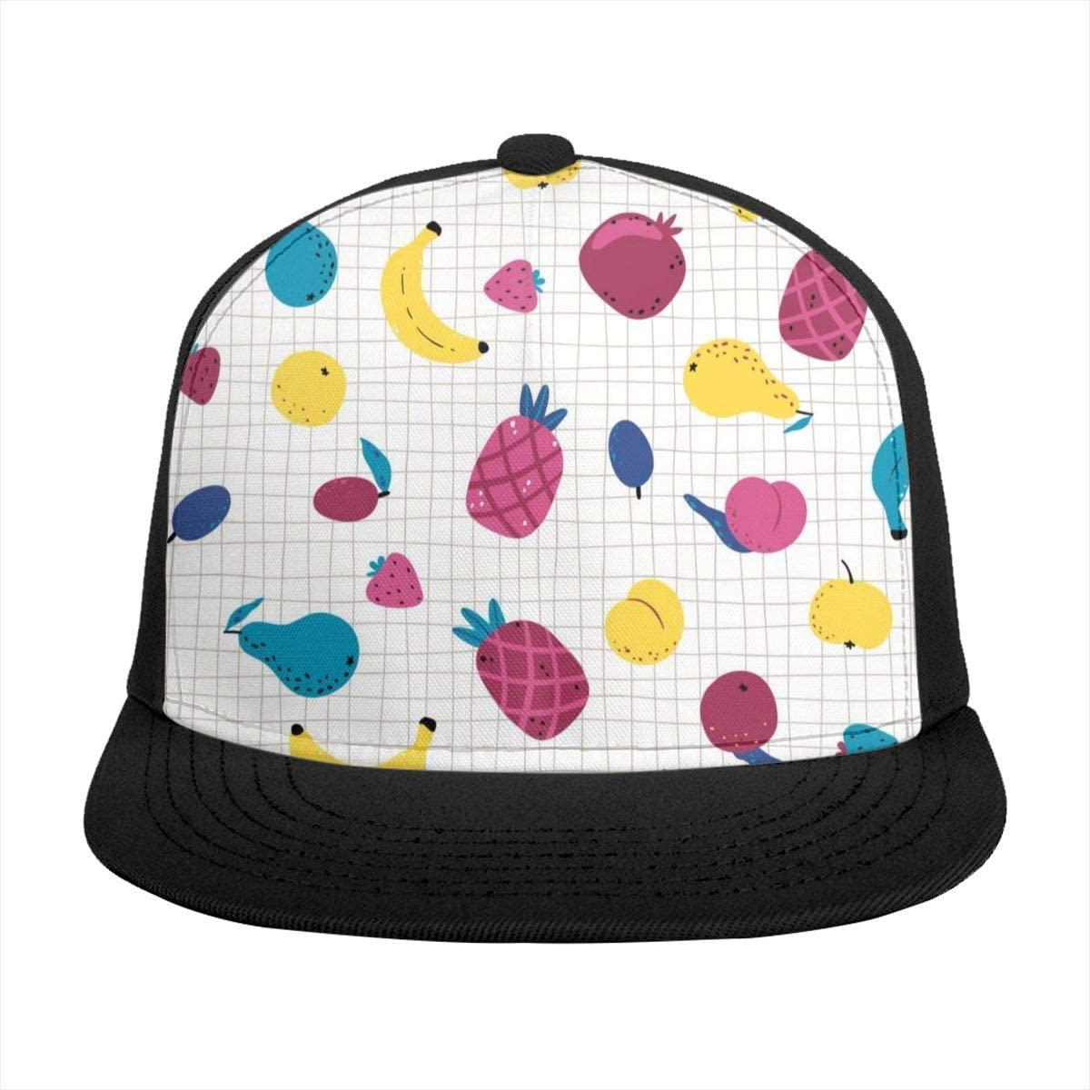 Flat Brim Hat Plaid Pineapple Pear Banana Peach Baseball Cap Sun Visor Hat for Women Men Teen Boys Girls