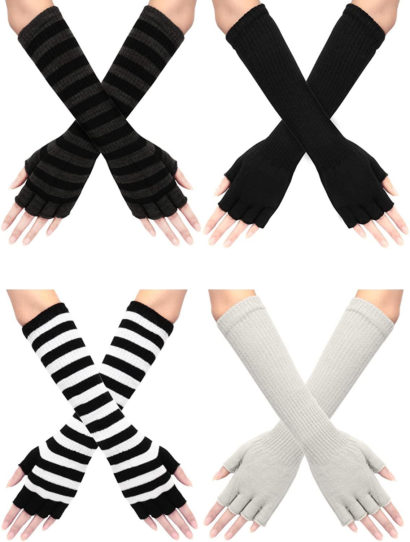 4 Pairs Winter Long Fingerless Gloves Elbow Length Gloves Arm Warmer for Women
