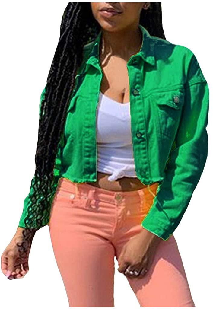 Yazidan Fashion Women Slim Long Sleeves Solid Buttons Lapel Denim Jacket Blouse Tops Multicolor Frayed Denim top