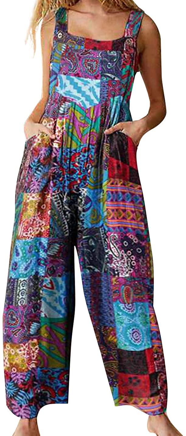 Flygo Women's Ethnic Boho Print Baggy Linen Overalls Loose Wide Leg Jumpsuit Pants