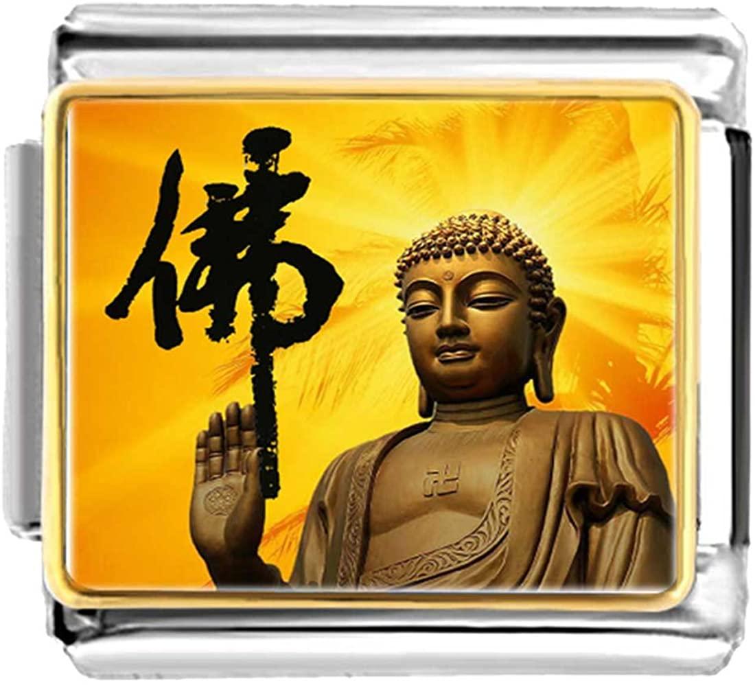 GiftJewelryShop Gold Plated Religion Holy Buddha Bracelet Link Photo Italian Charm Bracelets