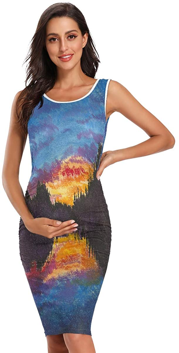 SLHFPX Vector Mountain Landscape at Dusk Womens Maternity Dresses Casual Pregnancy Dresses Bodycon Shirts Summer