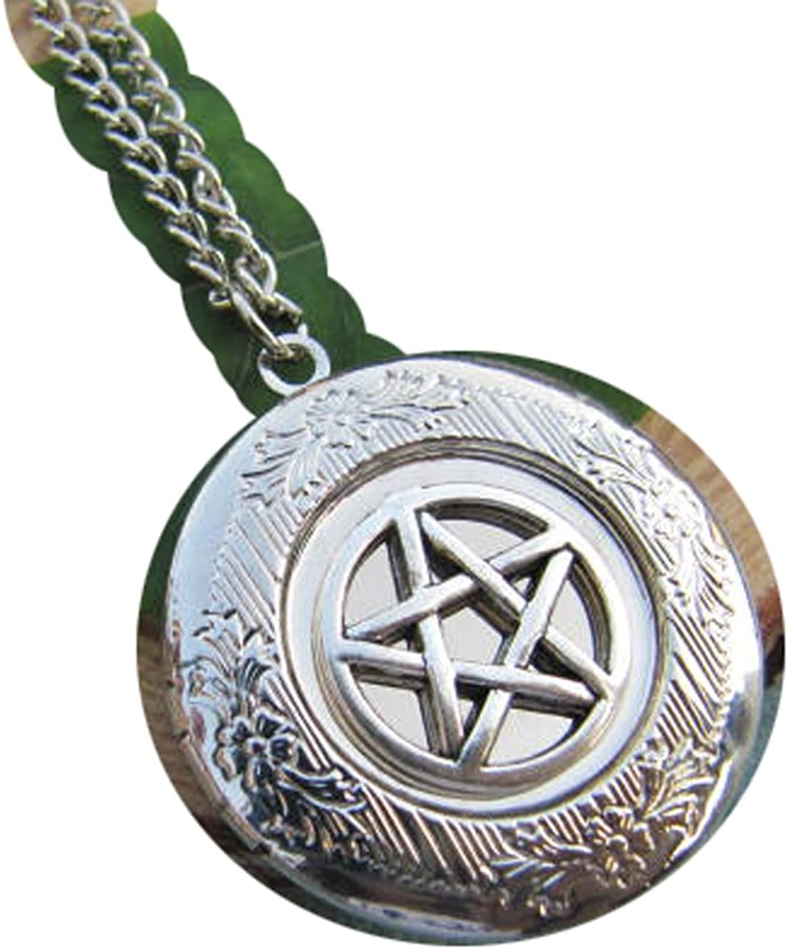 2Pcs Silver Pentagram Locket Necklace, Small Locket Necklace,Wicca Jewelry, Wiccan, Pagan