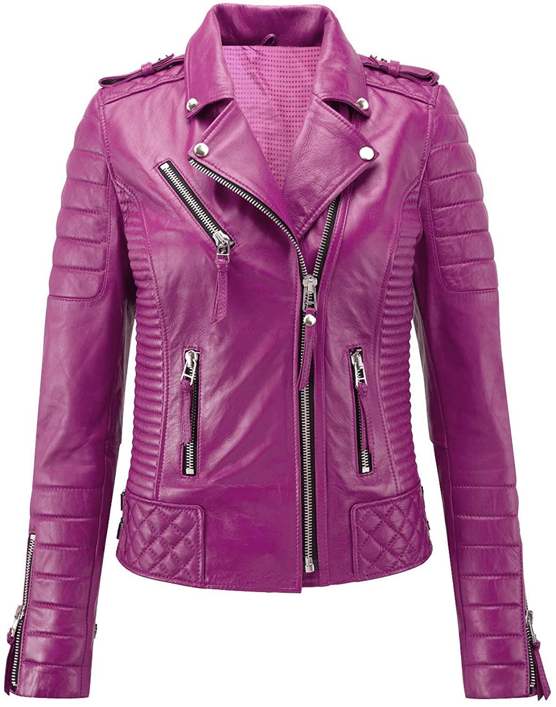 KAINAT Womens Lambskin Leather Stylish Motorbiker Jacket 16