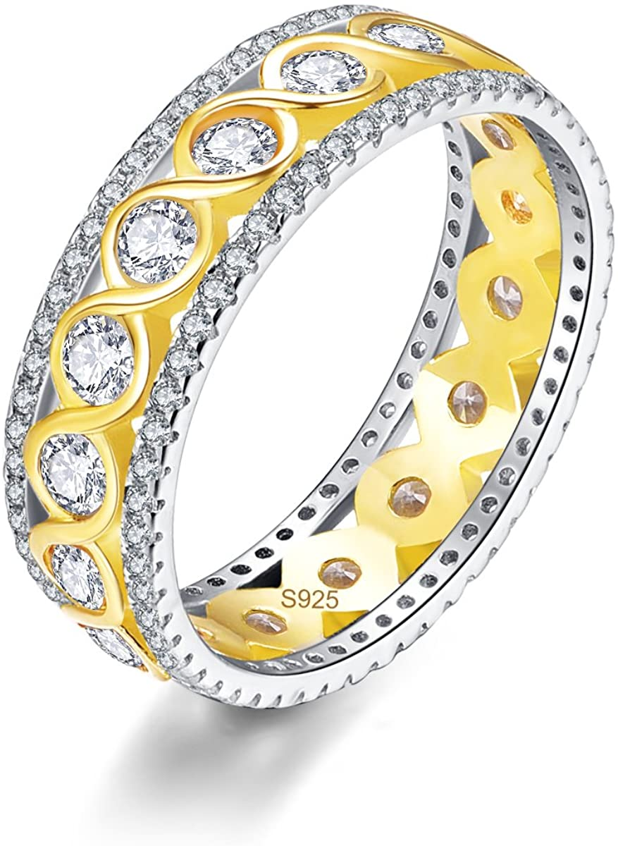AVECON Women's Infinity 925 Sterling Silver 18k Gold Plated Round Cut White CZ Eternity Wedding Band Ring Size 6 to 10