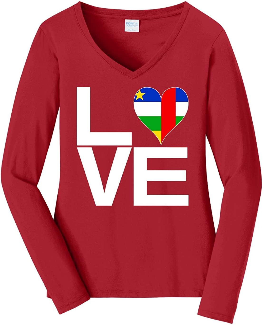Tenacitee Women's Love Block Central African Republic Heart Long Sleeve T-Shirt