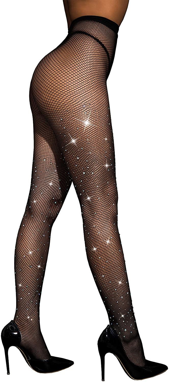Rhinestone Fishnet Stockings Sparkle Tights Crystals High Waist Diamond Glitter Pantyhose DORALLURE