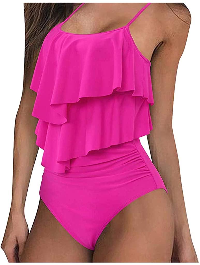 Mikilon Women Flounce high Waisted Bikini Layered Crop top Swimsuit Ruched Two Piece Tankini Swimwear
