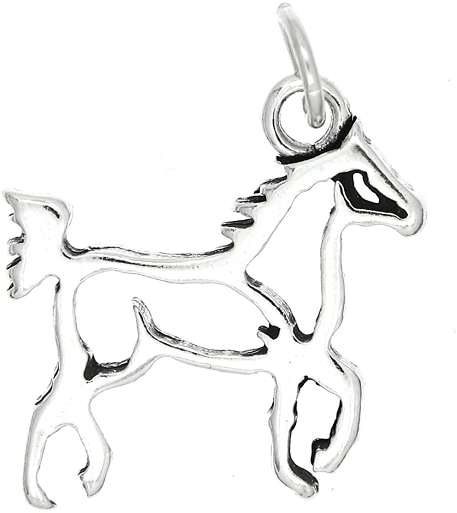 Sterling Silver Oxidized Double Sided Outline Horse Body Frame Charm