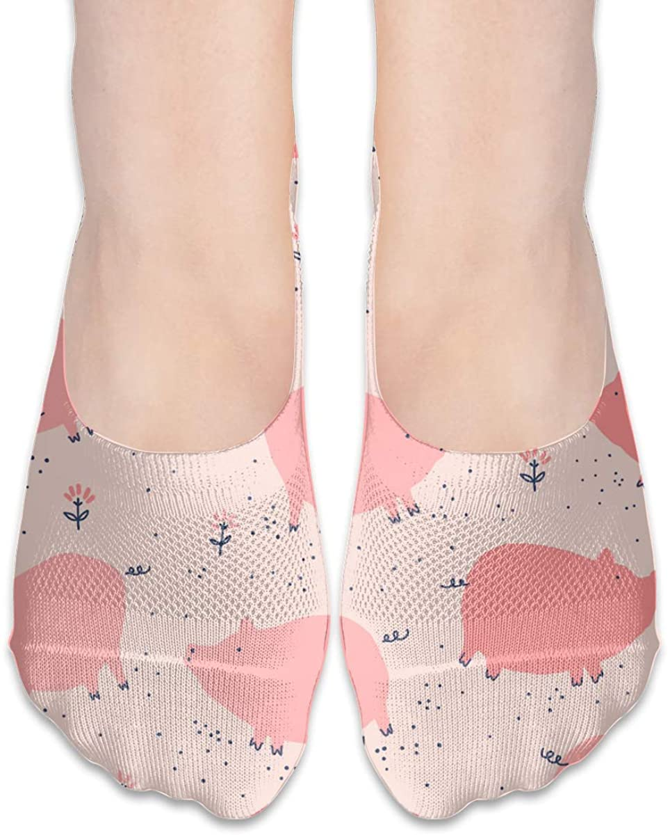No Show Socks For Women Pink Pigs Low Cut Sock Liners Invisible Socks