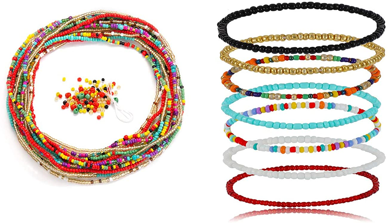 Salircon 7 PCS Waist Beads with 7 PCS Africa Bead Anklet Colorful Black White Beads Beach Jewelry for Women Girls