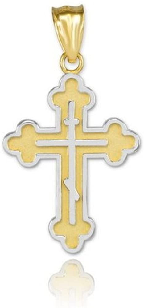 Fine 14k Two-Tone Yellow Gold Eastern Orthodox Cross Charm Pendant