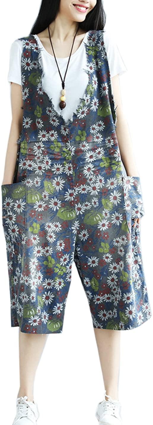 Flygo Women's Floral Printed Wide Leg Bib Denim Overalls Jumpsuits with Pockets