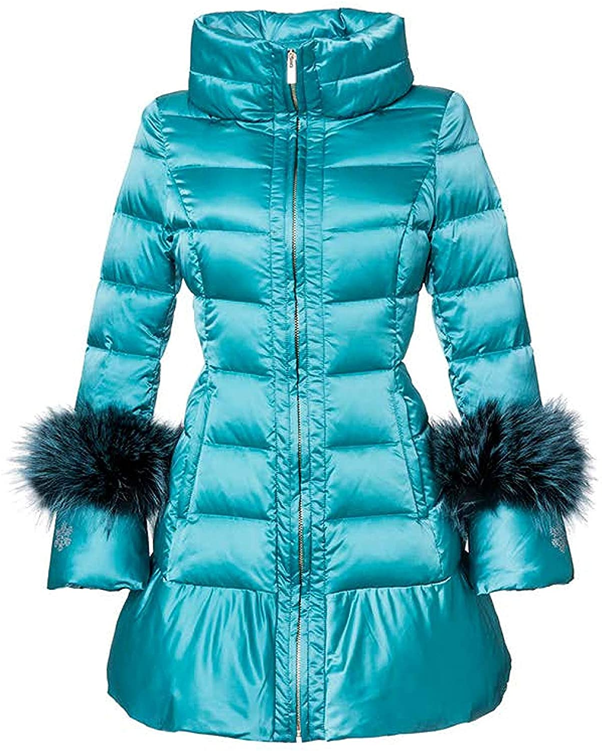 Lady Imprevue Milano Women Luxury Coat Jacket, Polar Fox Fur Cuffs, 100% Quilted, Collar Full