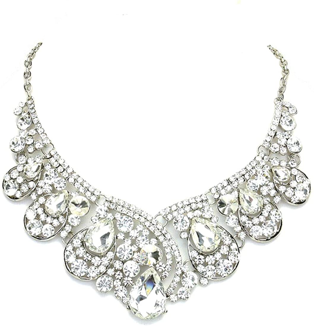 Affordable Wedding Jewelry Chunky Clear Crystal Statement Women Necklace
