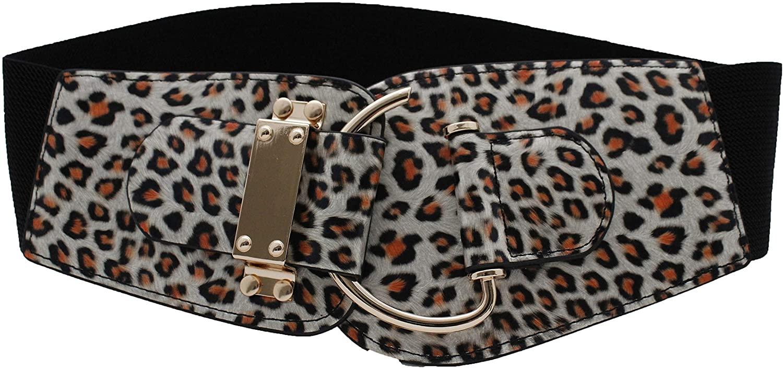 TFJ Women Fashion Elastic Belt Gold Metal Hook Buckle Animal Print Cheetah S M