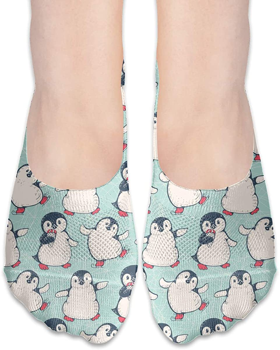 No Show Socks For Women Cute Penguins Low Cut Sock Liners Invisible Socks